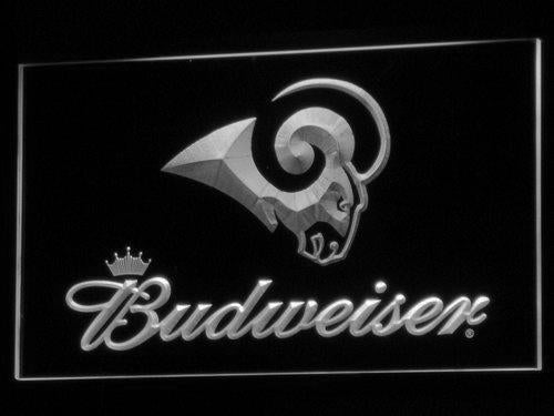 Los Angeles Rams Budweiser LED Neon Sign USB - White - TheLedHeroes