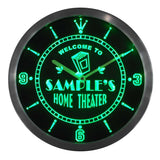 Home Theater Bar Beer LED Wall Clock - Green - TheLedHeroes