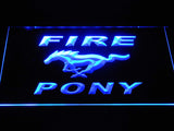 FREE Mustang Fire Pony LED Sign - Blue - TheLedHeroes