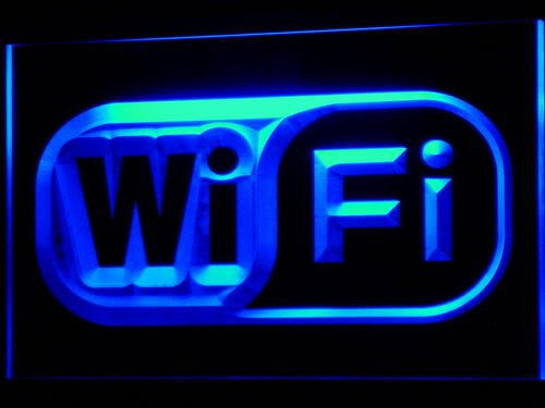 Wi Fi Logo Free Internet Services LED Sign - Blue - TheLedHeroes