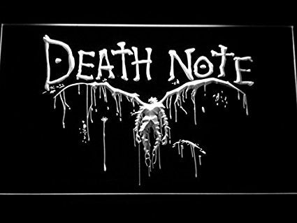 Death Note Notebook Cosplay LED Sign - White - TheLedHeroes