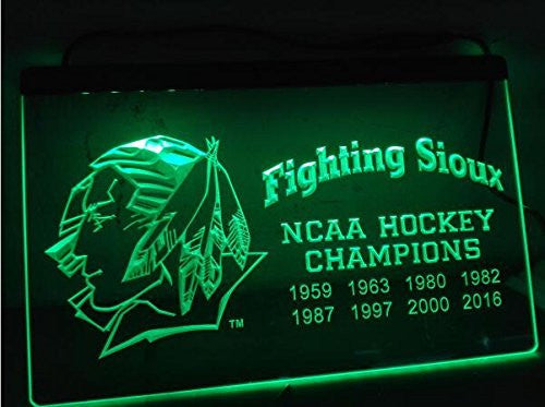 Fighting Sioux 2016 Chaimpions LED Neon Sign On/Off Switch 7 Colors
