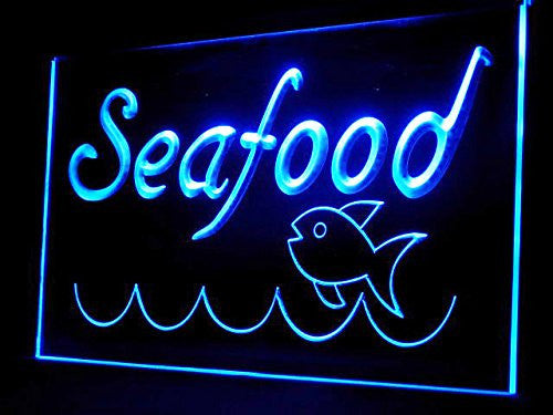 Fresh Seafood Fish Restaurant LED Sign - Blue - TheLedHeroes