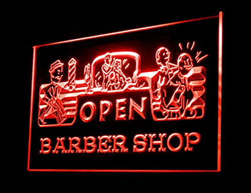 Open Barber Shop LED Sign - Red - TheLedHeroes