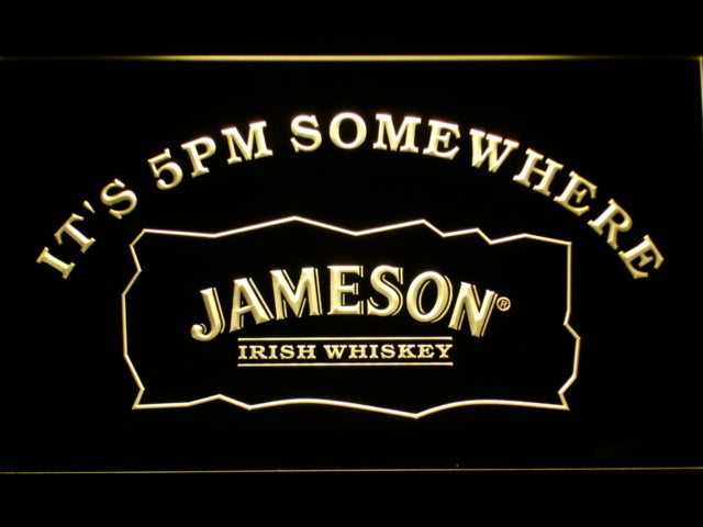 FREE Jameson It's 5pm Somewhere LED Sign - Yellow - TheLedHeroes