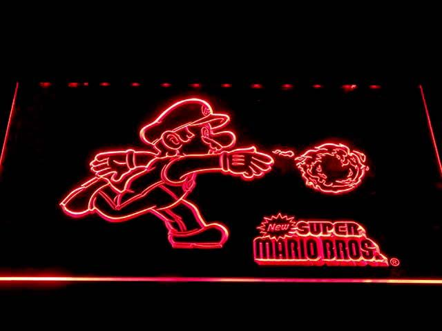 Super Mario Bros LED Neon Sign USB - Red - TheLedHeroes