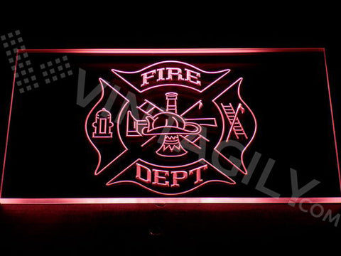 Fire Dept. Helmet Ladder Axe LED Sign -  - TheLedHeroes