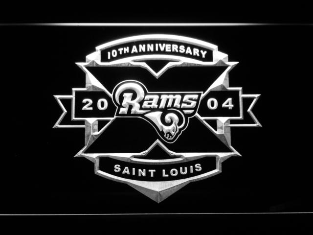Saint Louis Rams 10th Anniversary LED Neon Sign USB - White - TheLedHeroes