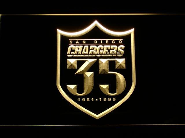 San Diego Chargers 35th Anniversary LED Neon Sign USB - Yellow - TheLedHeroes
