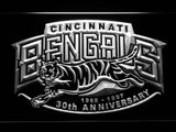 Cincinnati Bengals 30th Anniversary LED Neon Sign USB - White - TheLedHeroes