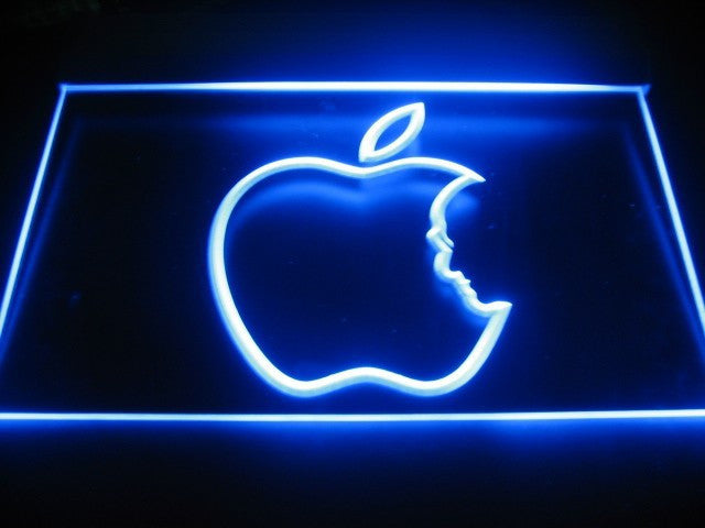 Apple Logo Steve Jobs LED Sign - Blue - TheLedHeroes