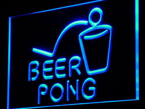 Beer Pong Bar Pub Club Game LED Sign - Blue - TheLedHeroes