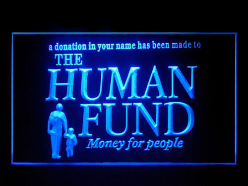 Human Fund Seinfeld LED Sign - Blue - TheLedHeroes
