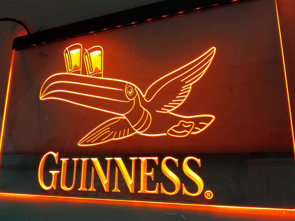 Guinness Toucan Beer Bar Pub Club LED Sign - Orange - TheLedHeroes