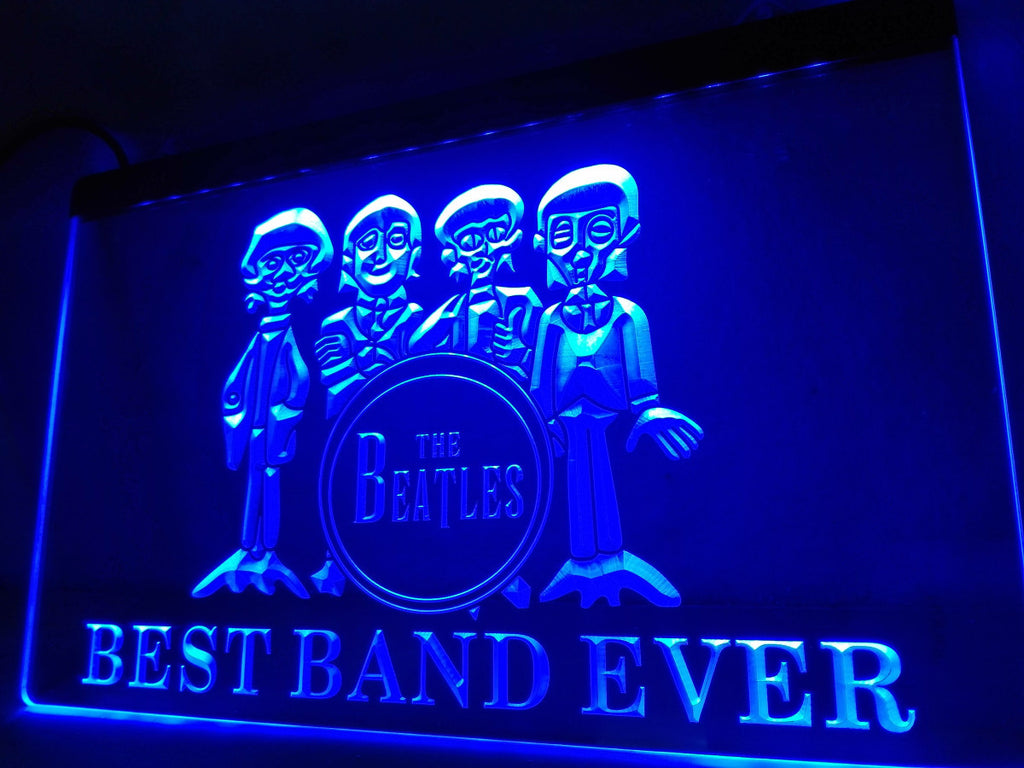 The Beatles Best Band Ever 3 LED Sign - Blue - TheLedHeroes