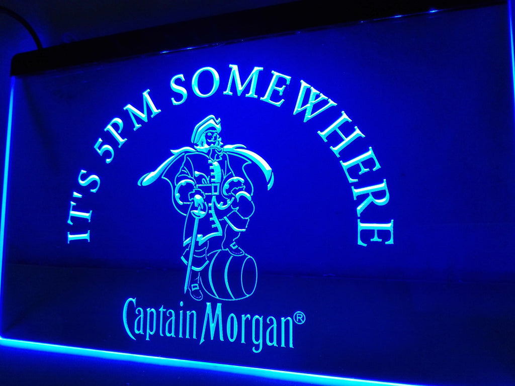FREE Captain Morgan It's 5 pm Somewhere LED Sign - Blue - TheLedHeroes