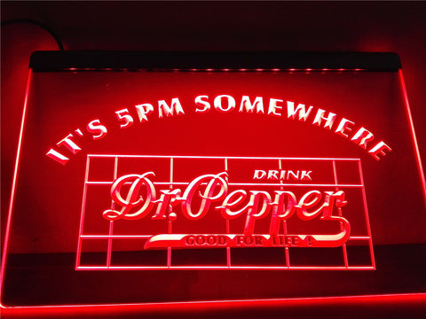 Dr Pepper It's 5 pm Somewhere LED Sign - Red - TheLedHeroes