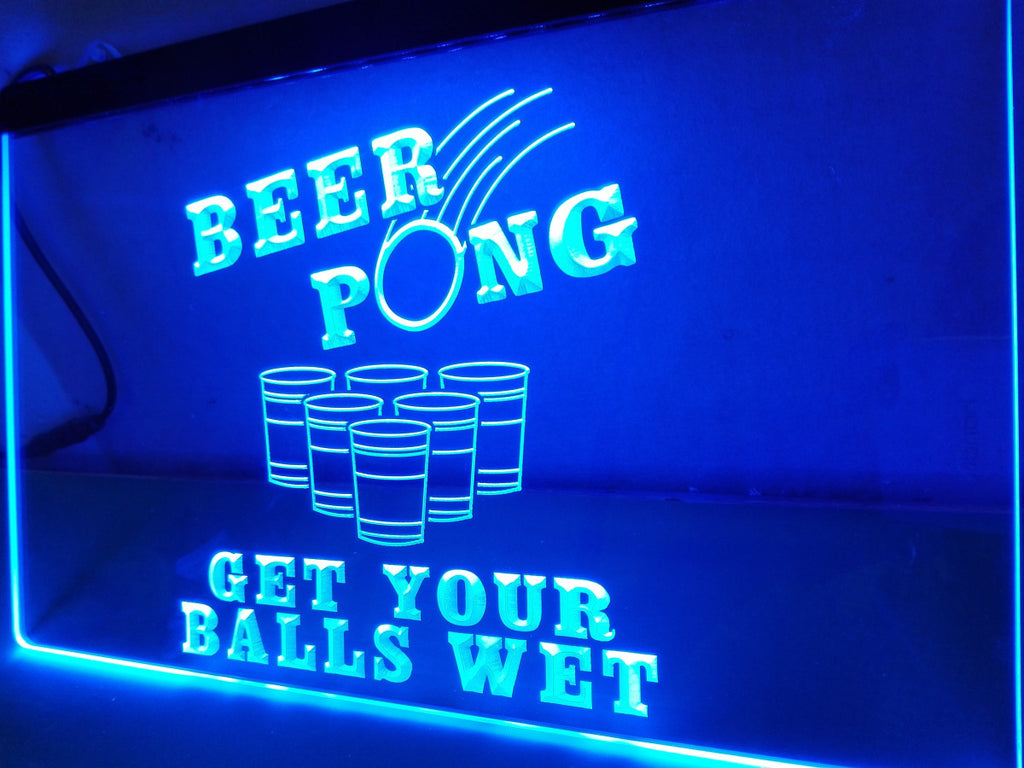 Beer Pong Get Your Balls Wet LED Sign - Blue - TheLedHeroes