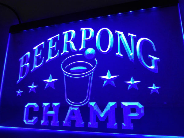 Beer Pong Champ Beer Bar Puc Neon Sign