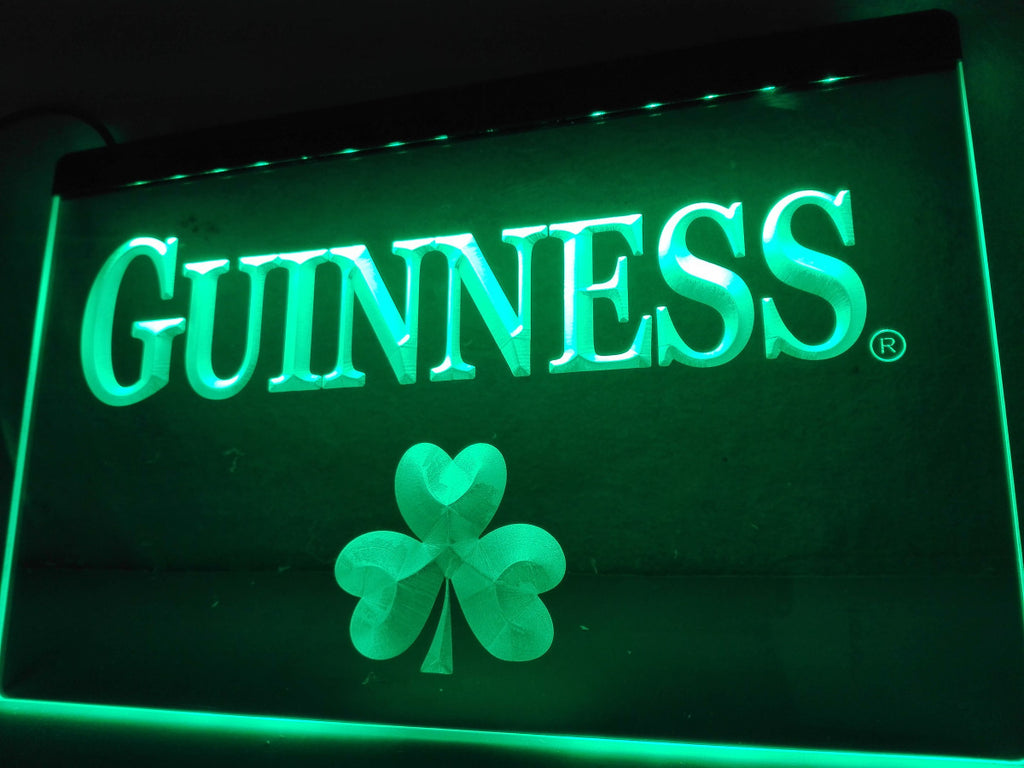 FREE Guinness Beer Shamrock (2) LED Sign - Green - TheLedHeroes