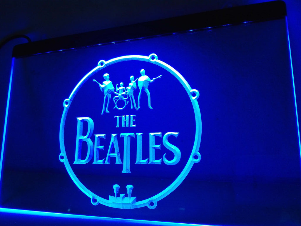 The Beatles Band Music Drums LED Sign - Blue - TheLedHeroes
