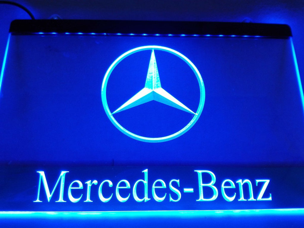Mercedes Benz 2 LED Neon Sign USB - Blue - TheLedHeroes
