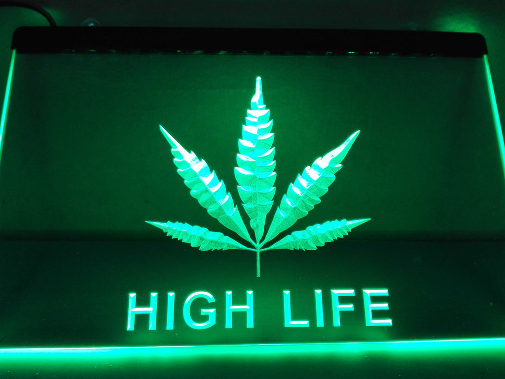 Hemp Leaf High Life NR LED Sign