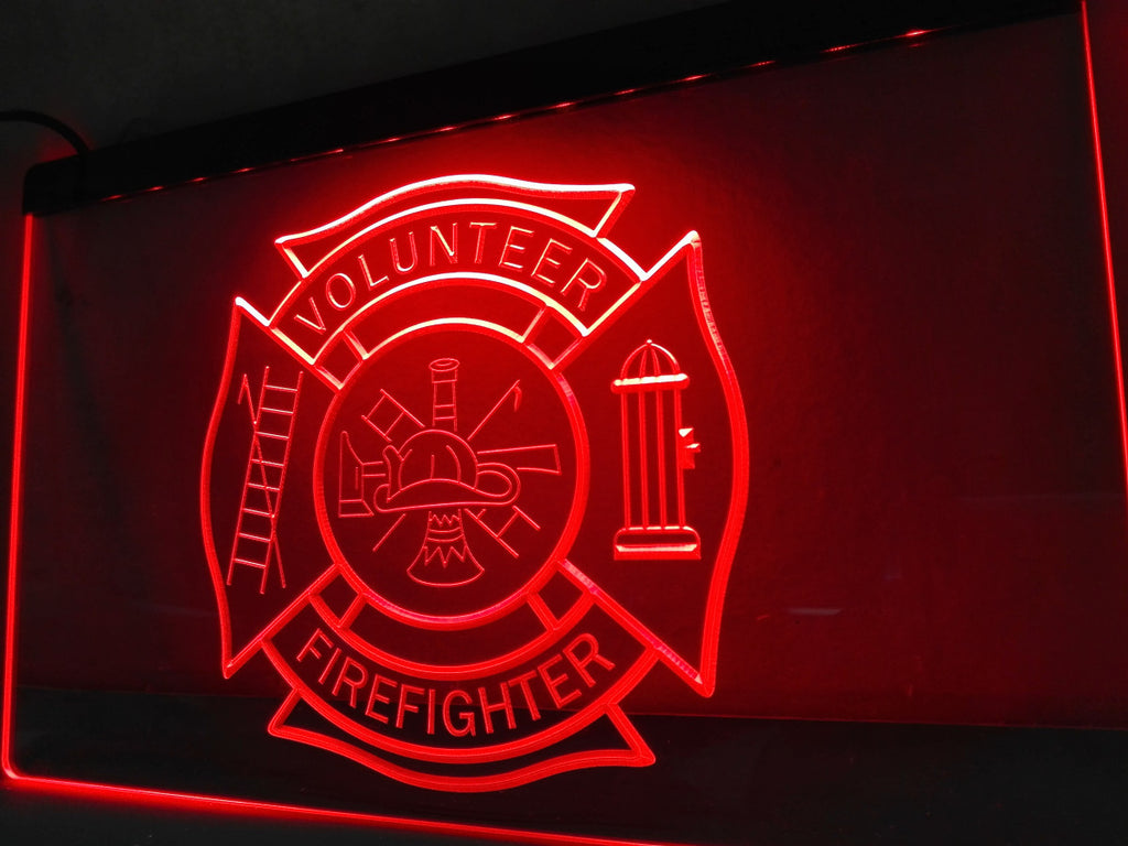 Firefighter Volunteer Fire Dept. LED Sign - Red - TheLedHeroes