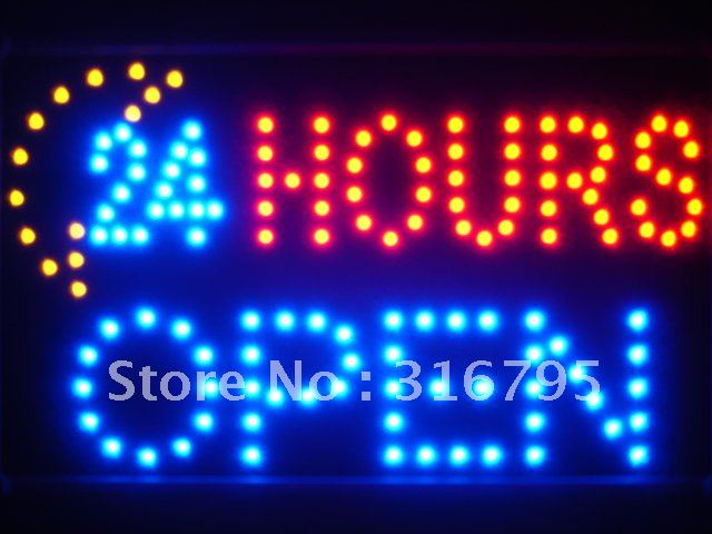 24 Hours OPEN Moon Shop LED Sign -  - TheLedHeroes