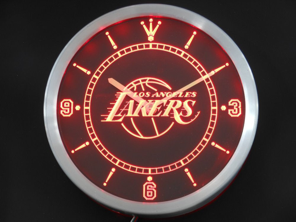 LA Lakers LED Wall Clock - Red - TheLedHeroes