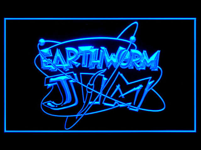 Earthworm Jim LED Sign -  Blue - TheLedHeroes