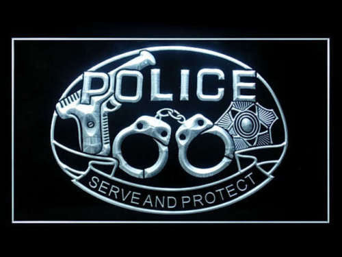 Police Serve and Protect LED Sign - White - TheLedHeroes