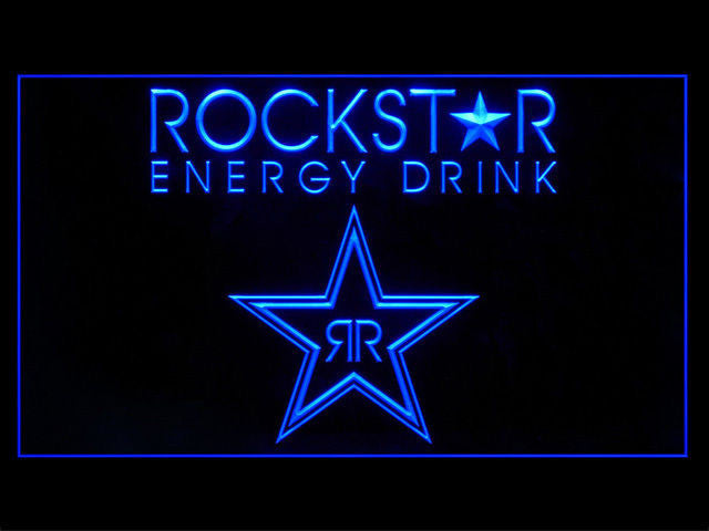 Rockstar Energy Drink Logo LED Sign - Blue - TheLedHeroes