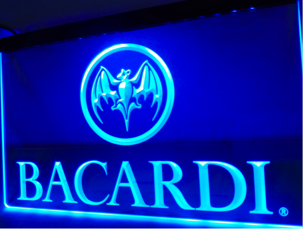 Bacardi Breezer Bar NEW NEON LED Sign On/Off Switch 7 Colors