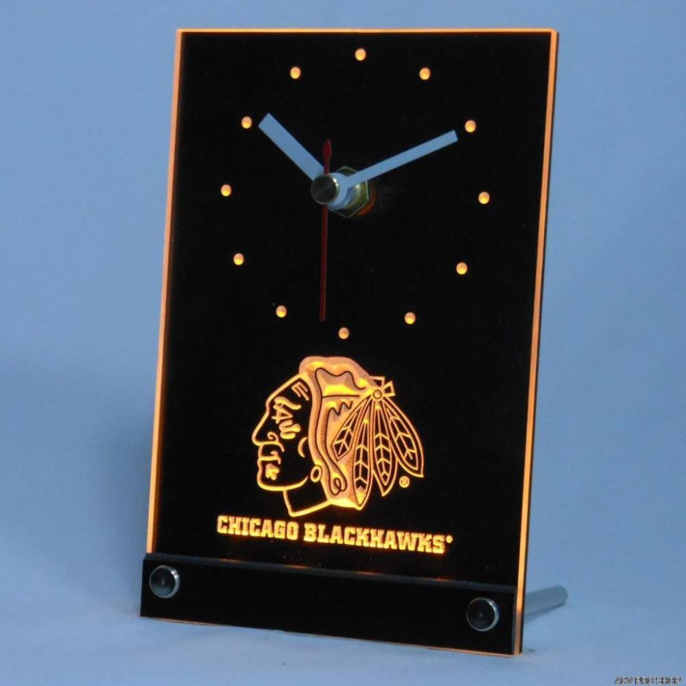 Chicago Blackhawks Desk LED Clock - Yellow - TheLedHeroes