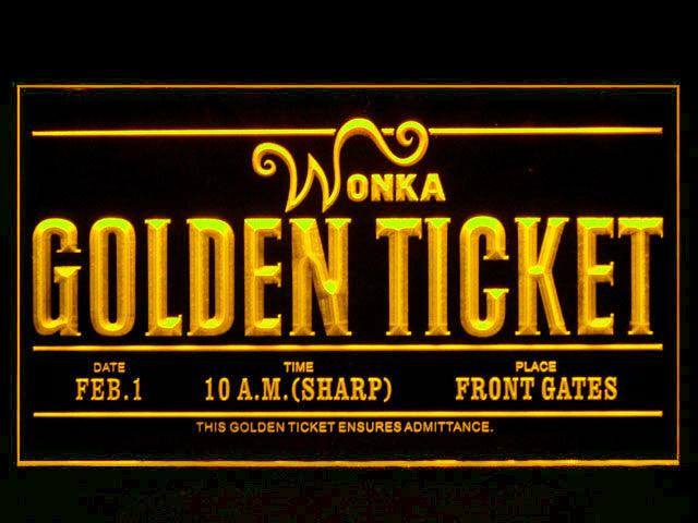 Willy Wonka Golden Ticket LED Sign
