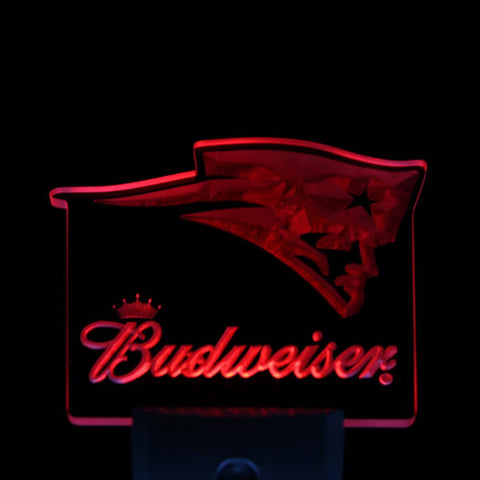 New England Patriots Budweiser Day/ Night Sensor Led Night Light Sign