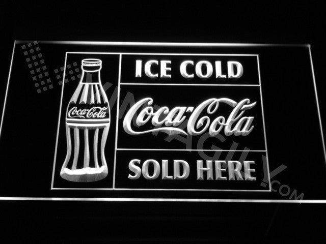 Coca Cola Ice Cold Sold Here LED Sign - White - TheLedHeroes
