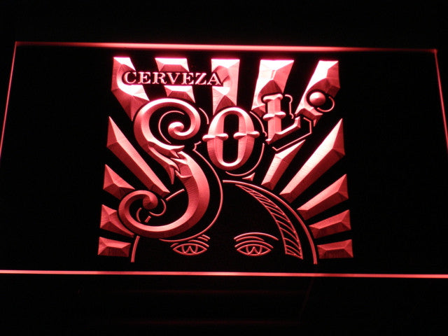 Cerveza Sol LED Sign - Red - TheLedHeroes