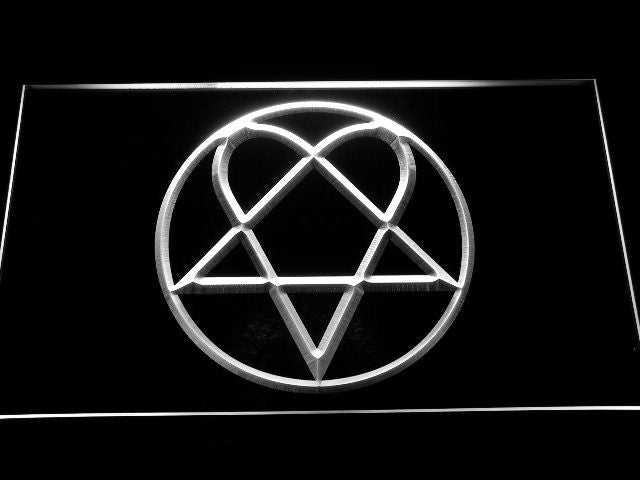 Bam Margera Heartagram Him LED Sign - White - TheLedHeroes