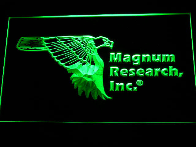 Magnum Research Inc Gun Firearms Eagle Logo LED Sign - Green - TheLedHeroes