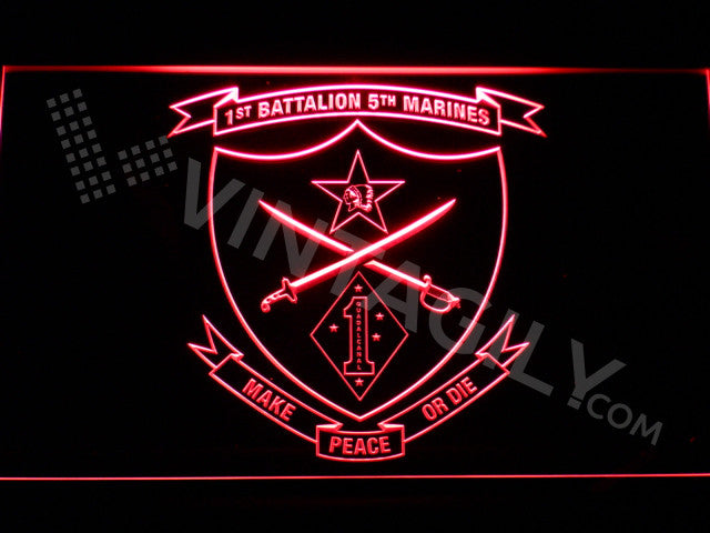 FREE 1st Battalion 5th Marines LED Sign - Red - TheLedHeroes