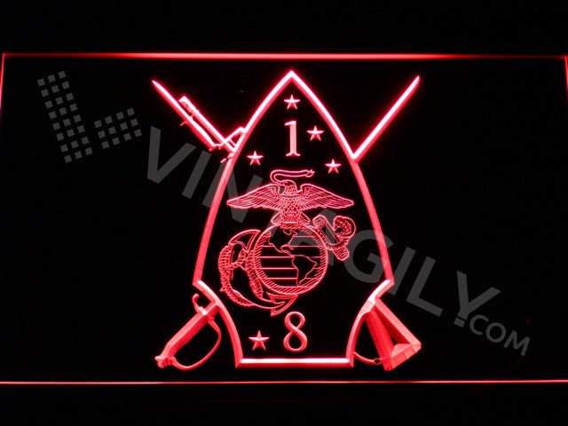 FREE 1st Battalion 8th Marines LED Sign - Red - TheLedHeroes