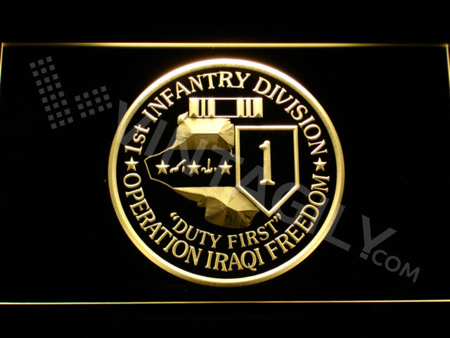 1st Infantry Division Operation Iraqi LED Sign - Yellow - TheLedHeroes