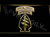 Special Forces Airborne LED Neon Sign USB - Yellow - TheLedHeroes