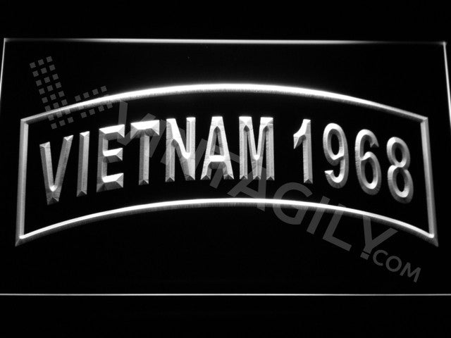 FREE Vietnam 1968 LED Sign - White - TheLedHeroes