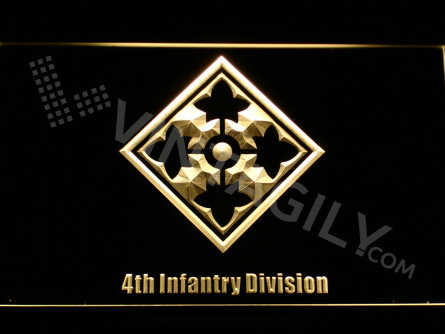 4th Infantry Division LED Sign - Yellow - TheLedHeroes