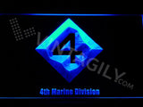 4th Marine Division LED Neon Sign USB - Blue - TheLedHeroes