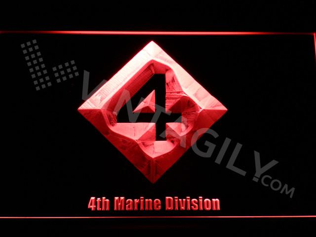 4th Marine Division LED Neon Sign USB - Red - TheLedHeroes
