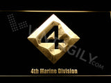 4th Marine Division LED Neon Sign USB - Yellow - TheLedHeroes